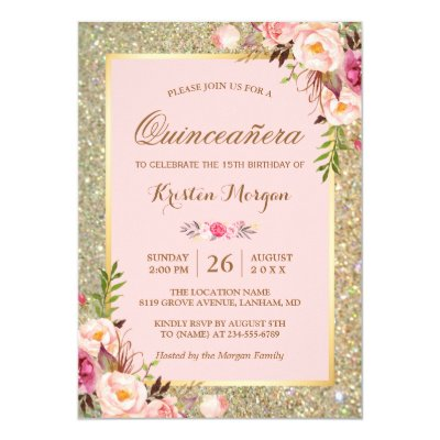 Quinceanera pink 15th birthday party card zazzle m4hsunfo Image collections