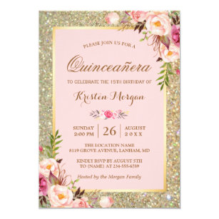 Glitter invitations announcements zazzle quinceanera birthday pink floral gold glitters invitation filmwisefo