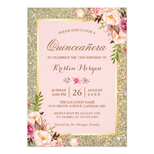 Quinceanera Birthday Pink Floral Gold Glitters Invitation Zazzle Com