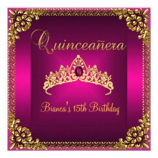 Quinceanera Birthday Pink Tiara Gold Gem Jewel Invitation