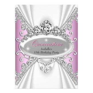 Quinceañera Birthday Princess Pink Diamonds Large Personalized Announcement