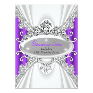 Quinceañera Birthday Princess Purple Diamond Large Card