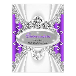 Quinceañera Birthday Princess Purple Diamond Large Invites