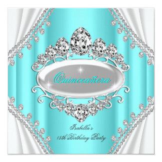 Quinceañera Birthday Princess Teal Diamond 5.25x5.25 Square Paper Invitation Card