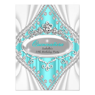 Quinceañera Birthday Princess Teal Diamond Large 6.5x8.75 Paper Invitation Card
