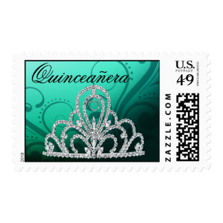 Quinceanera Birthday Princess Tiara aqua Postage Stamps
