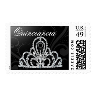 Quinceanera Birthday Princess Tiara black Postage Stamps