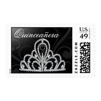 Quinceanera Birthday Princess Tiara black Stamp