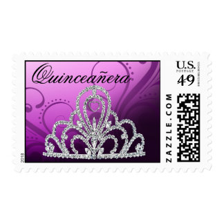 Quinceanera Birthday Princess Tiara purple Stamps