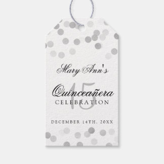 Quinceanera Birthday Silver Foil Glitter Lights Gift Tags