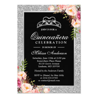 Quinceanera Birthday Silver Glitter Sparkle Floral Card