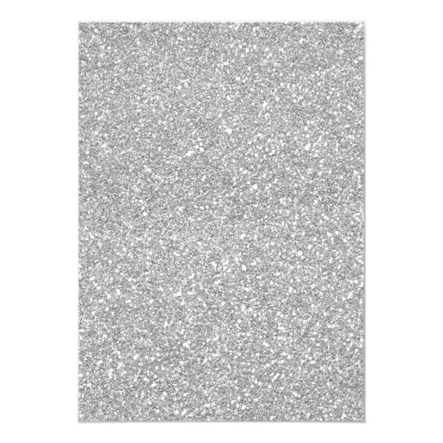 Quinceanera Birthday Silver Glitter Sparkle Floral Card (back side)
