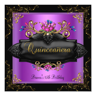 Quinceanera Birthday Spot Purple Lilac Gold Floral Custom Announcements