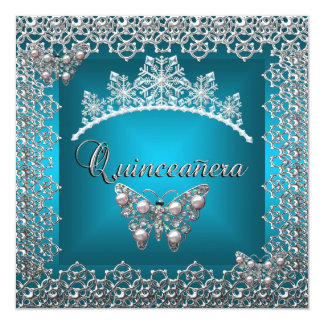 Quinceanera Birthday Teal Silver Tiara Butterfly 5.25x5.25 Square Paper Invitation Card