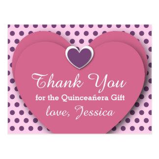 Quinceañera Birthday Thank You Dots B04 PURPLE Postcard