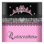 Quinceanera Birthday Zebra  Pink Black White Personalized Announcements