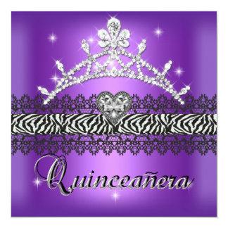 Quinceanera Birthday Zebra Purple Black White Card