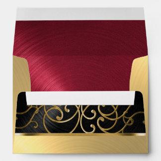 Quinceanera Black Red Gold Filigree Swirls Envelope