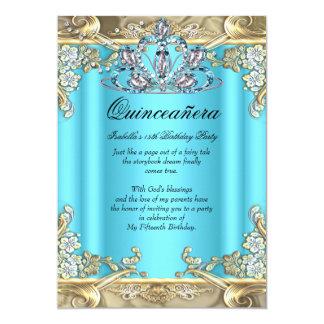 Quinceanera Blue Aqua Teal Gold 15th Birthday 5x7 Paper Invitation Card