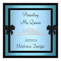 Quinceanera Blue Black Jewel Tiara Formal 1 Card