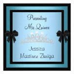 Quinceanera Blue Black Jewel Tiara Formal 1 Personalized Invitation