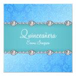 Quinceañera Blue Damask & Diamond Invite