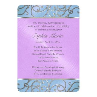 Quinceanera Blue Purple Silver Filigree Swirls Card