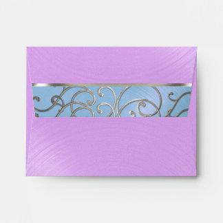 Quinceanera Blue Purple Silver Filigree Swirls Envelope