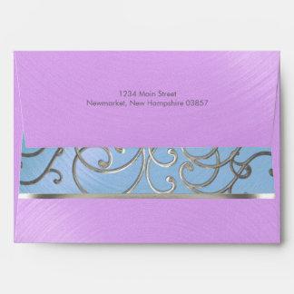Quinceanera Blue Purple Silver Filigree Swirls Envelopes