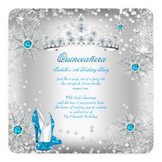 Quinceanera Blue Silver Winter Wonderland Card