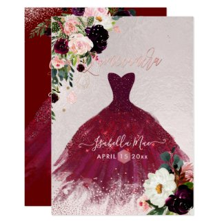 Quinceanera Blush Burgundy Watercolor Flowers Invitation