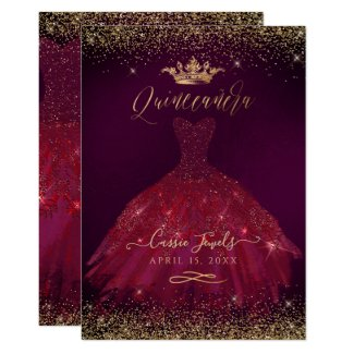 Quinceanera Burgundy Gold Confetti+Princess Crown Invitation