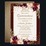 "Quinceanera Burgundy Gold floral Sparkle Invite<br><div class=""desc"">More Floral Quinceanera invitations in the Little Bayleigh Store!</div>"
