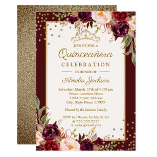 Quinceaera invitations zazzle quinceanera burgundy gold floral sparkle invite stopboris Images