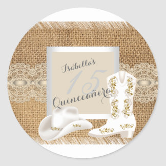 Quinceanera Burlap Lace Cowgirl Classic Round Sticker