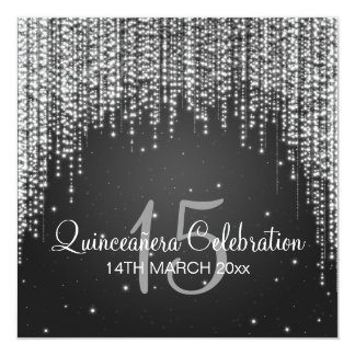 Quinceañera Celebration Party Night Dazzle Black Card