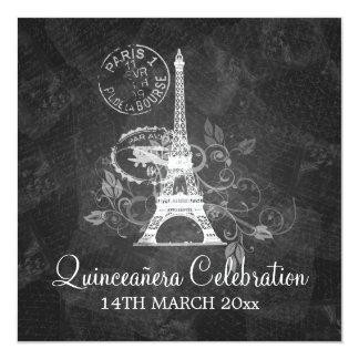 Quinceañera Celebration Party Romantic Paris Black Card