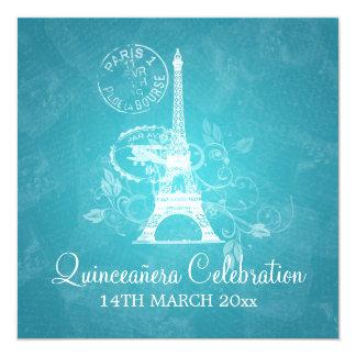 Quinceañera Celebration Party Romantic Paris Blue Card