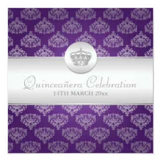 Quinceañera Celebration Party Royal Crown Purple Card