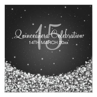 Quinceañera Celebration Party Star Sparkle Black Card