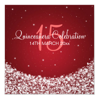 Quinceañera Celebration Party Star Sparkle Red Card