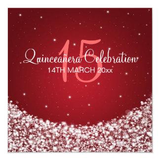 Quinceañera Celebration Party Star Sparkle Red Card
