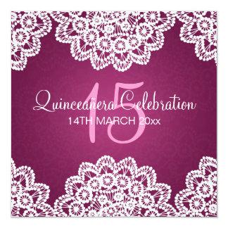 Quinceañera Celebration Party Vintage Lace Pink Card