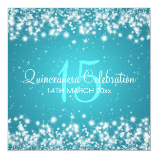Quinceañera Celebration Party Winter Sparkle Blue Card