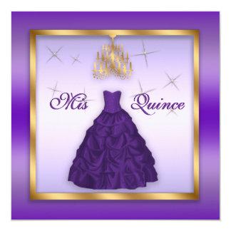 """Quinceanera chispeante invita al oro púrpura de la invitación 5.25"""" x 5.25"""""""