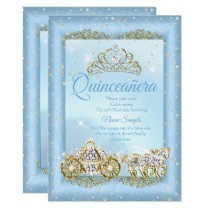Quinceanera Cinderella Blue fairytale Carriage Invitation