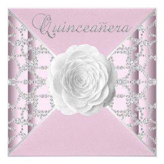"""Quinceanera color de rosa rosado elegante invitación 5.25"""" x 5.25"""""""