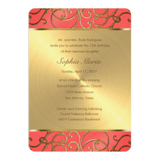 Quinceanera Coral Pink and Gold Filigree Swirls 5x7 Paper Invitation Card