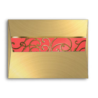 Quinceanera Coral Pink and Gold Filigree Swirls Envelope