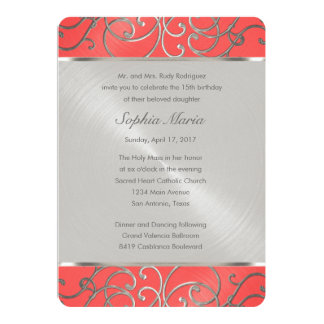 Quinceanera Coral Pink and Silver Filigree Swirls Card